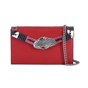 New Gucci Lilith Red Leather and Snakeskin Bag